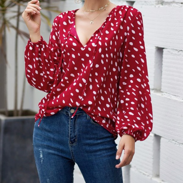 Red Polka Dot V Neck Blouse 2