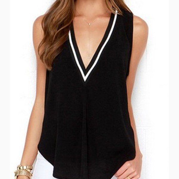 V-neck Irregular Hem Tank Top 2