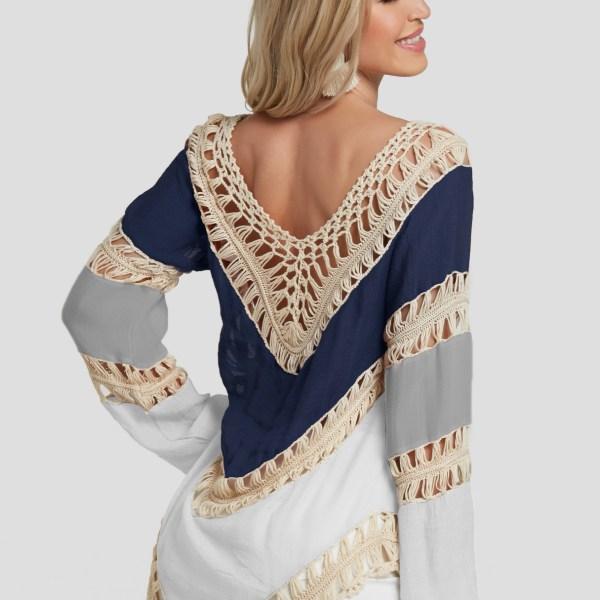 Color Block Crochet Lace Embellished Beach Blouse 2