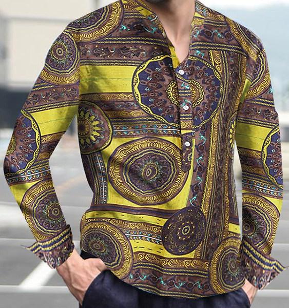 Men Bohemian Long Sleeve Floral Shirt Vintage Holiday Party Shirt 2