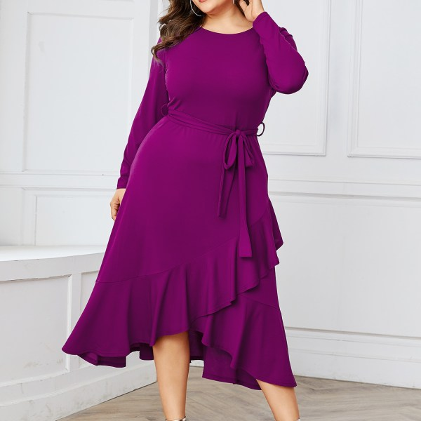 YOINS Plus Size Purple Belt Design Round Neck Dress 2