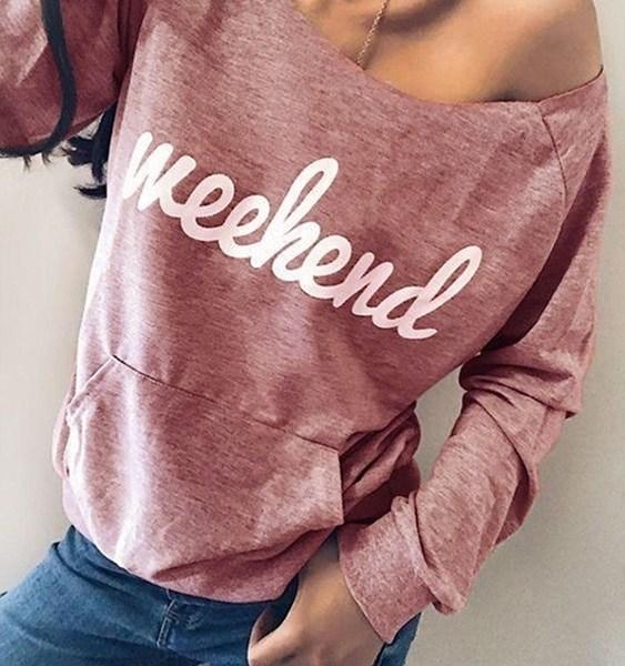 Pink Letter One Shoulder Side Pockets Sweatshirt 2