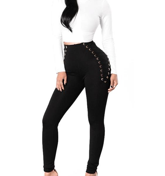 Black Criss-cross Lace-up Design High-Waisted Leggings 2