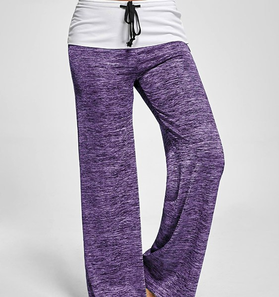 Active Wide Leg Stretch Waistband Pants With Stitching Design in Purple 2