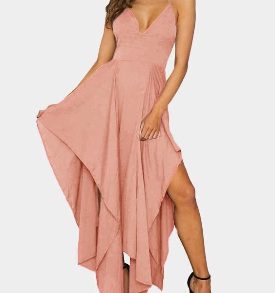 Sexy V-neck & Asymmetrical Maxi Dress in Orange-pink 2
