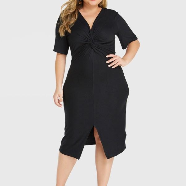 YOINS Plus Size Black Slit Design Deep V Neck Twisted Dress 2