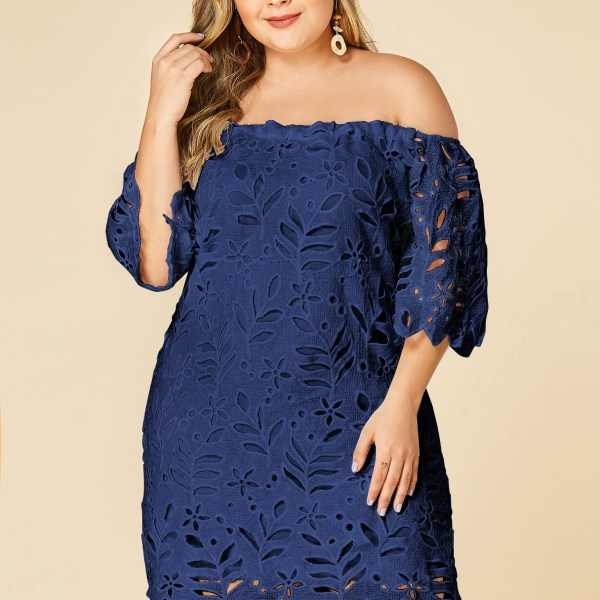 Plus Size Navy Lace Off Shoulder Half Sleeves Dress 2