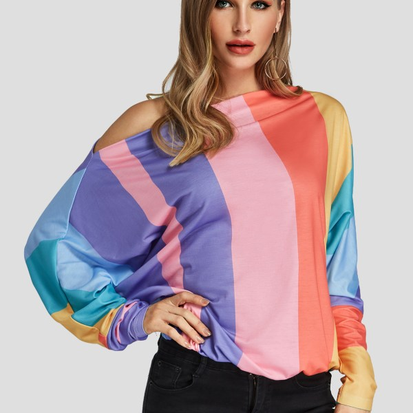 Color Block One Shoulder Long Sleeves Top 2