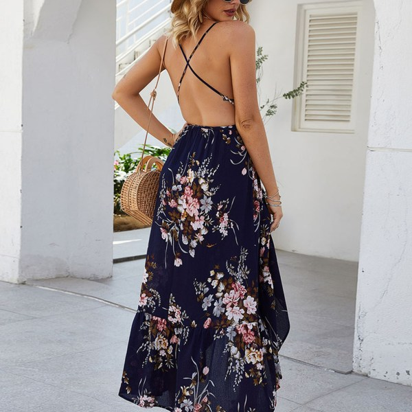 Navy Backless Design Floral Print Deep V Neck Dress 1