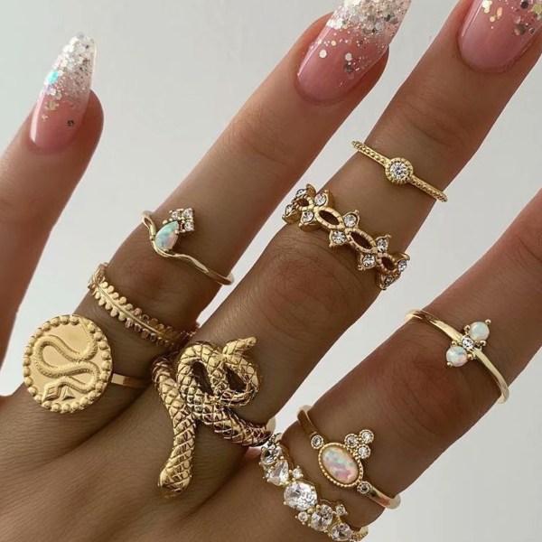 Rhinestones Flower Ring 9-Piece Ring Set 2