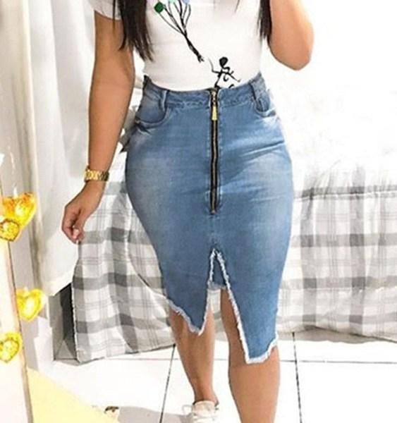 Zip Front Denim High-Waisted Skirt 1