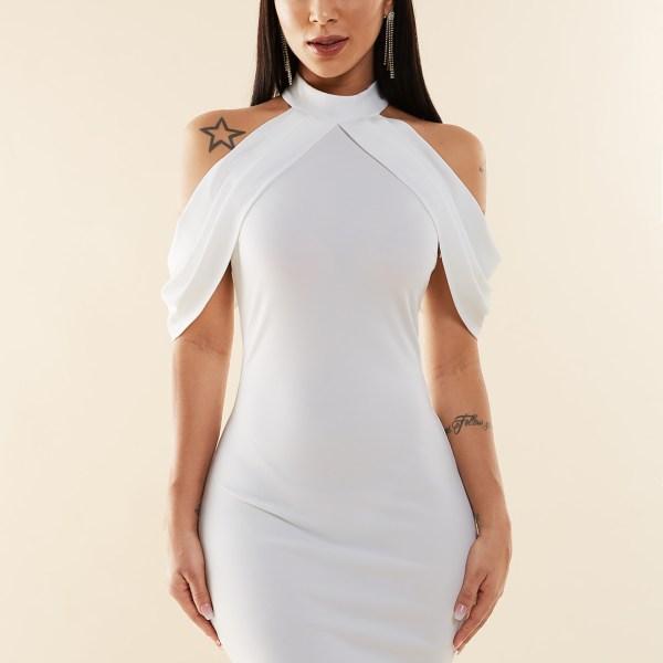 YOINS White Halter Cold Shoulder Bodycon Dress 2