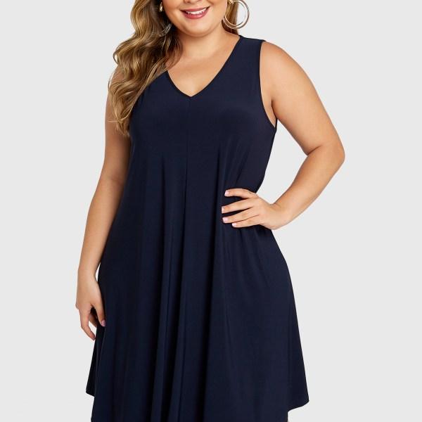 Plus Size Navy V-neck Sleeveless Dress 2