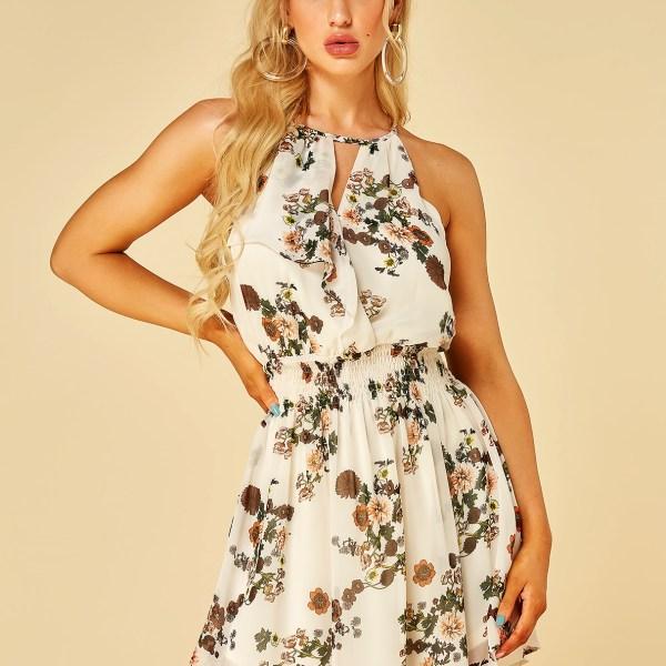 YOINS Apricot Random Floral Print Halter Smocking Waist Dress 2