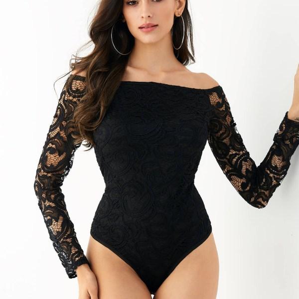 YOINS Black Lace Off The Shoulder Long Sleeves Bodysuit 2