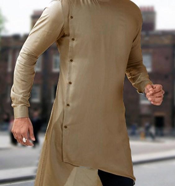 Men Arabian Muslim Button Design Stand Collar Shirt 2