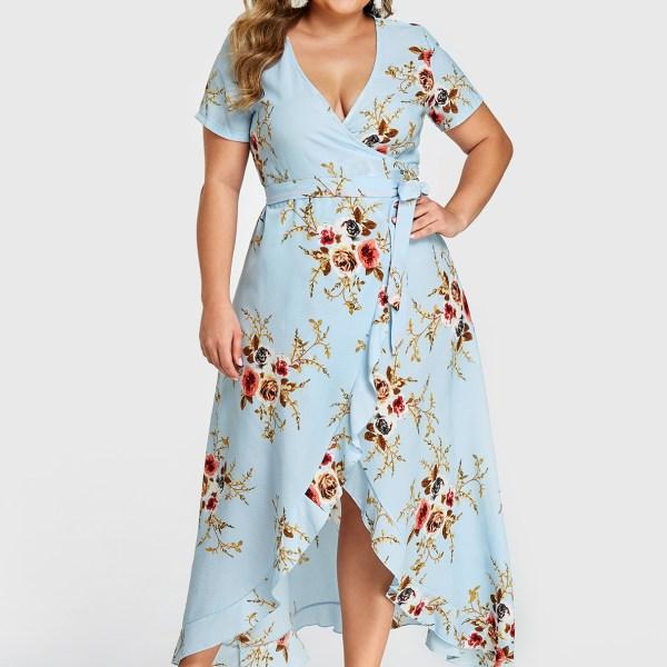 Plus Size Blue Ruffle Trim Random Floral Print Wrap Design Dress 2