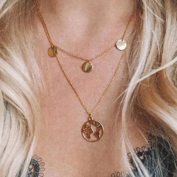 World Map Pendant Double Layered Gold Necklaces 2