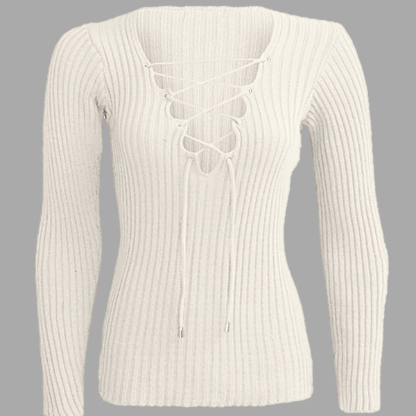 Beige Plunge Lace-up Knit Sweater with Long Sleeves 2
