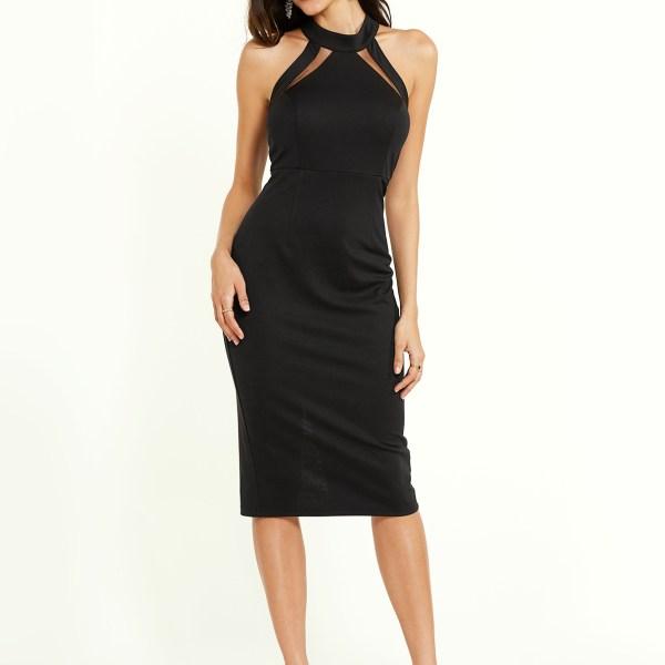 YOINS Black Insert Halter Sleeveless Slit Hem Dress 2