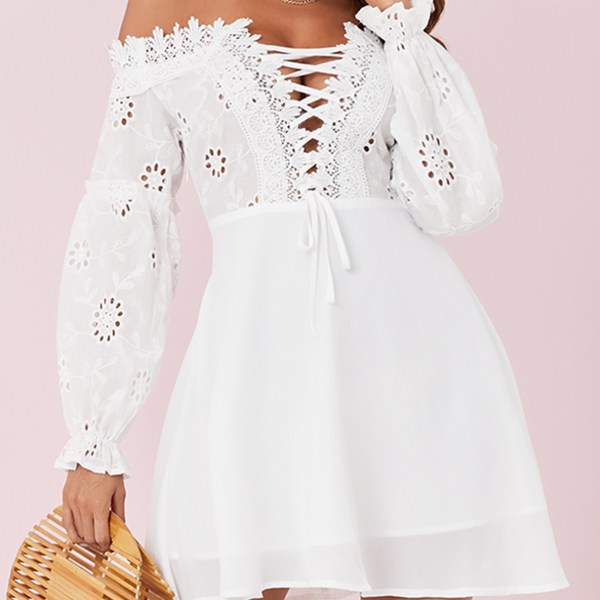 Yoins White Lace-up Design Off The Shoulder Long Sleeves Dress 2