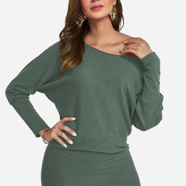 Light Green One Shoulder Dolman Sleeves Knitted Dress 2
