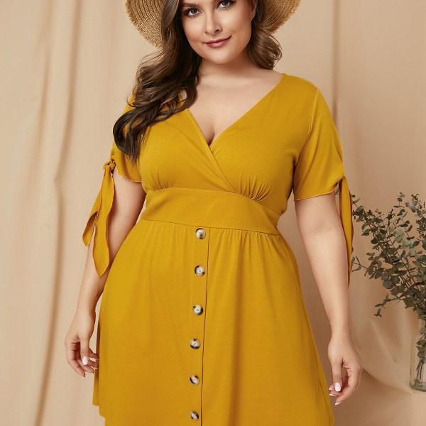 YOINS Plus Size Belt Design V-neck Short Sleeves Dress 2