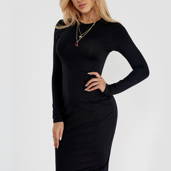 Black Round Neck Long Sleeve Midi Dress 2