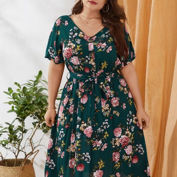 Plus Size Belt Design Random Floral Print V-neck Short Sleeves Dress 2