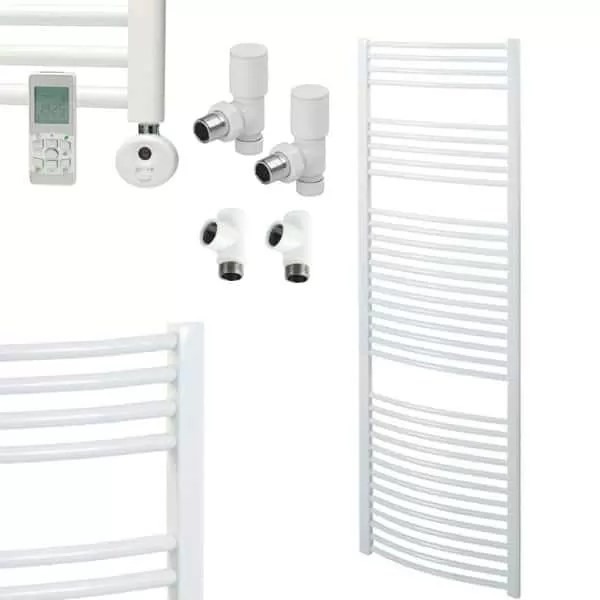 518 Bray Quality Curved White Dual Fuel Heated Towel Rail