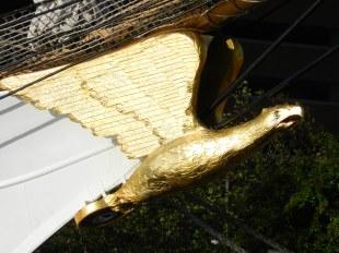 The Eagle's figurehead gleams in the early morning sun.