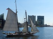 Kids raise the sails on the Lady Maryland.