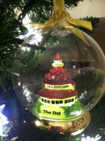 A huge glass ornament from the Del Coronado in San Diego even lights up.