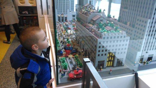 Looking at a LEGO replica of Rockefeller Center