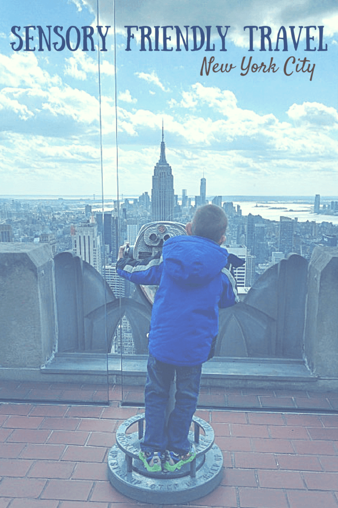 New York City and Times Square can be intimidating to typical people. But read these tips and you too can enjoy NYC with your child with autism or other sensory difficulties. #travel #familytravel #sensoryfriendlytravel