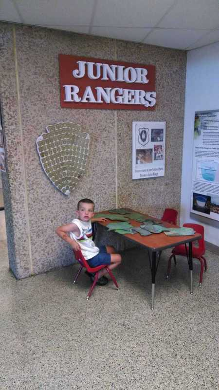 Kevin working on his Junior Ranger activities at Glen Canyon NRA.