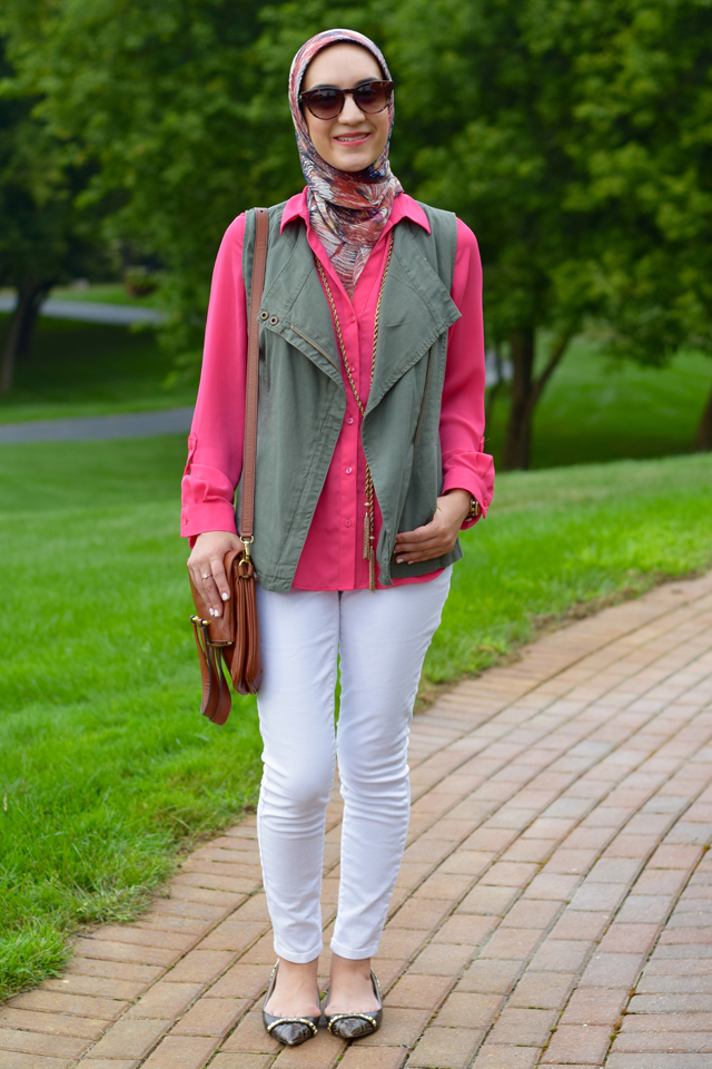 A Day In The Lalz; Transitioning To Fall Fashion; Fashion Blog; Modesty; The Limited Ashton Blouse; Green Vest; Pink; Michael Kors Flats; Cole Haan Sunglasses; White Denim