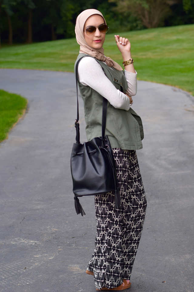 A Day In The Lalz; Transitioning To Fall Fashion; Fashion Blog; Modesty; Anthro; Green Vest; Tribal Pants; Cognac Accessories; Pre-Fall