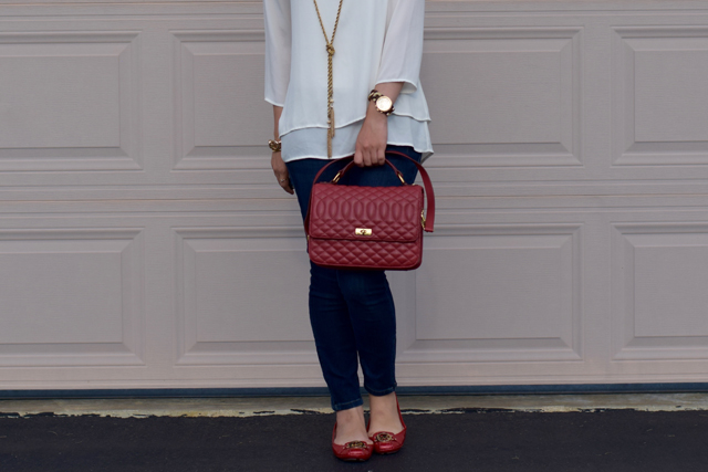 A Day In The Lalz; Summer Red; J. Crew; Edie Purse; Red Flats; The Limited; Modesty;