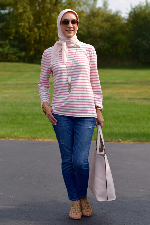 A Day In The Lalz; Fashion Blog; Style; Modesty; Pink Stripes; J. Crew; Summer Fashion; Kendra Scott; Blush Tote