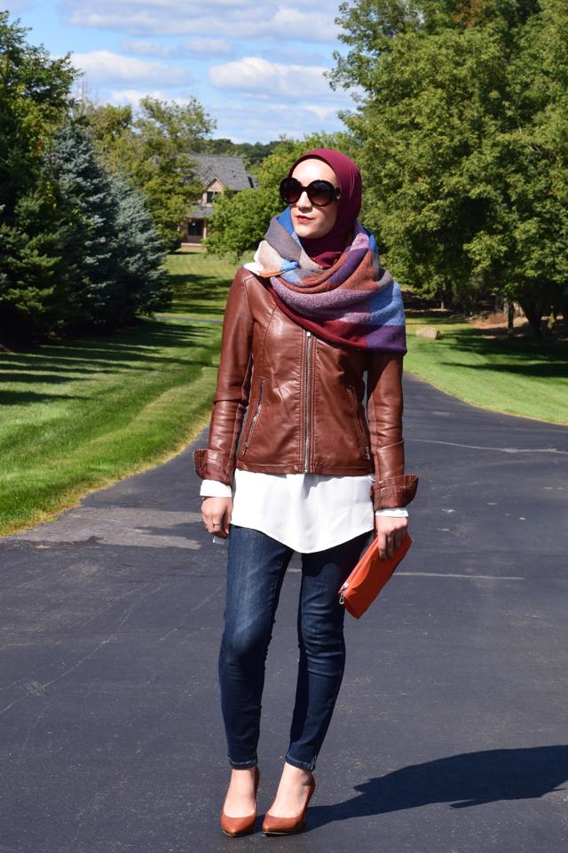 A Day In The Lalz; Fall Style; Blanket Scarf; Leather Jacket; Cognac; Prada Sunglasses; Fashion Blog; Modesty; Hijabi Fashion; Orange Clutch