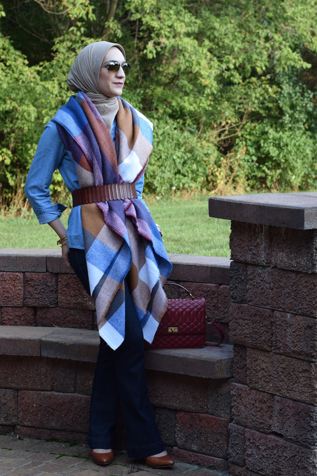 A Day In The Lalz; Blanket Scarf; ASOS Oversized Scarf; Fall Fashion; J. Crew Edie Purse; Flare Jeans; Hijab Fashion; Modesty; Fashion Blog; Style