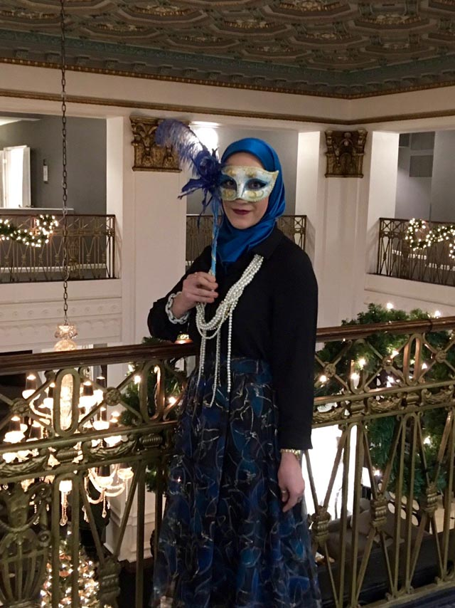 A Day In The Lalz; Masquerade Fashion Look; Hijabi; Midi Skirt; Butterfly Skirt; Winter Party; Fashion Blogger; Modest Fashion; Bauble Bar Chain Kimmy Strands;