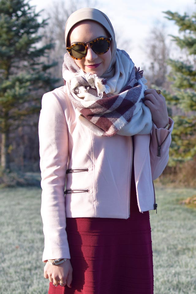 A Day In The Lalz; Burgundy Dress; Banana Republic Moto Jacket; Blush Pink Jacket; Karen Walker Sunglasses; Brown Booties; Blanket Scarf; Fashion Blogger; Hijab Fashion; Modest Style; Winter Look; Layers;