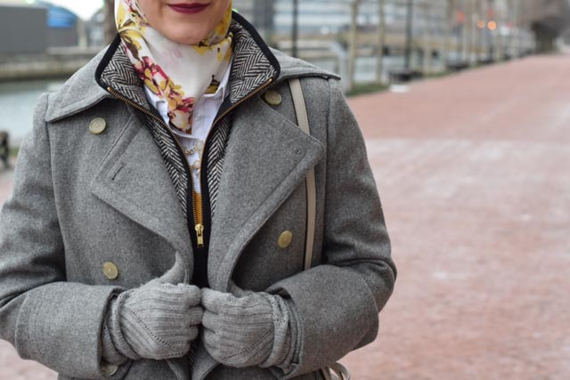 A Day In The Lalz; Fashion Blogger; J. Crew Wool Peacoat; J. Crew Quilted Puffer Vest; Haute Hijab; Bauble Bar Necklace; Tory Burch Riding Boot; Stila Aria Liquid Lipstick; Kate Spade cedar street maise; Snow Day Look; Winter Fashion; Modest Fashion; Hijabi; Karen Walker Fit Harvest Sunglasses