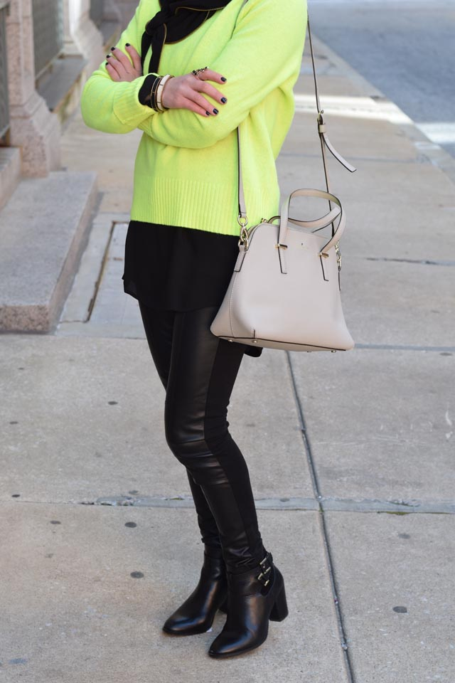 A Day In The Lalz; Fashion Blogger; Neon Sweater; J. Crew Holly Sweater; Leather legging; Winter Neon Look; Hijabi; Vela Zipper Edge Scarf; Kate Spade cedar street maise; Modest Fashion