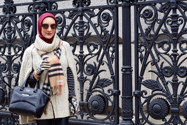 A Day In The Lalz; Winter Cape Style; How to Style a Cape; Modest Fashion; Fashion Blogger; NYC; Streetstyle; Burberry Scarf and Gloves; Leather Leggings; Kate Spade Beau Bag; Hijabi Fashion