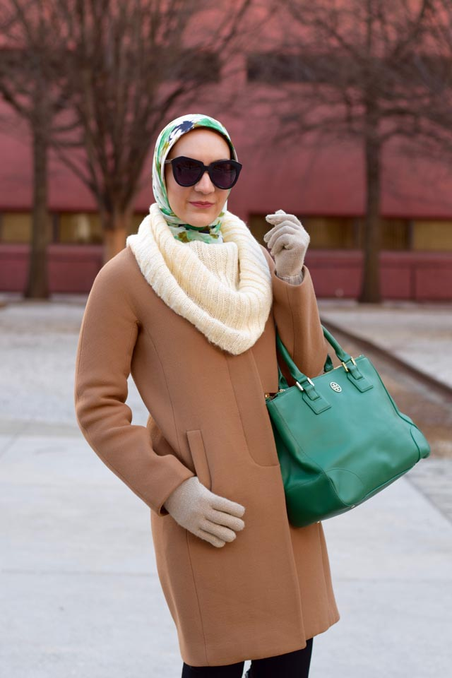 A Day In The Lalz; Winter Fashion; J. Crew Coat; Tory Burch Robinson Tote; Tory Burch Riding Boots; Oversized Sweater; Haute Hijab Scarf; Fashion Blogger; Karen Walker Number One Sunglasses; Modest Fashion; Hijabi