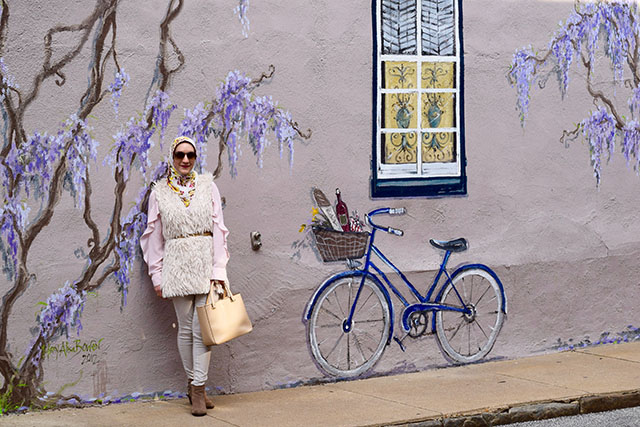A Day In The Lalz; ADITL; Fashion Blog; Faux Fur Vest; Spring Transitional Look; Banana Republic Ruffle Blouse; Haute Hijab Scarf; Anthropologie Beaded Belt; Modest Fashion; Fashin Blogger Style