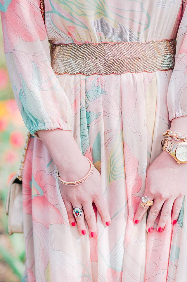 Chicwish Spring Scenery Floral Maxi Dress, Sherwood Tulip Garden, Baltimore Spring, Sherwood Gardens, Tulip Frields